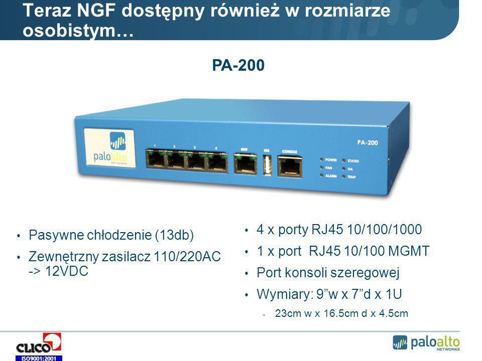 ISO9001:2001 Teraz NGF dostępny również w rozmiarze osobistym… Pasywne chłodzenie (13db) Zewnętrzny zasilacz 110/220AC -> 12VDC 4 x porty RJ45 10/100/1000 1 x port RJ45 10/100 MGMT Port konsoli szeregowej Wymiary: 9w x 7d x 1U - 23cm w x 16.5cm d x 4.5cm PA-200