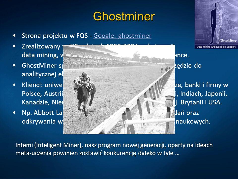 Ghostminer Strona projektu w FQS - Google: ghostminerGoogle: ghostminer Zrealizowany w KIS w latach 1998-2004, w kategorii data mining, wspomaganie de