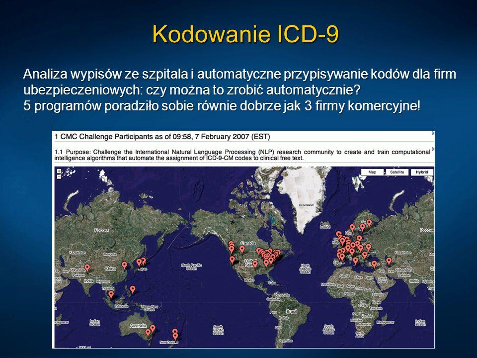 Kodowanie ICD-9 Analiza wypisów ze szpitala i automatyczne przypisywanie kodów dla firm ubezpieczeniowych: czy można to zrobić automatycznie? 5 progra