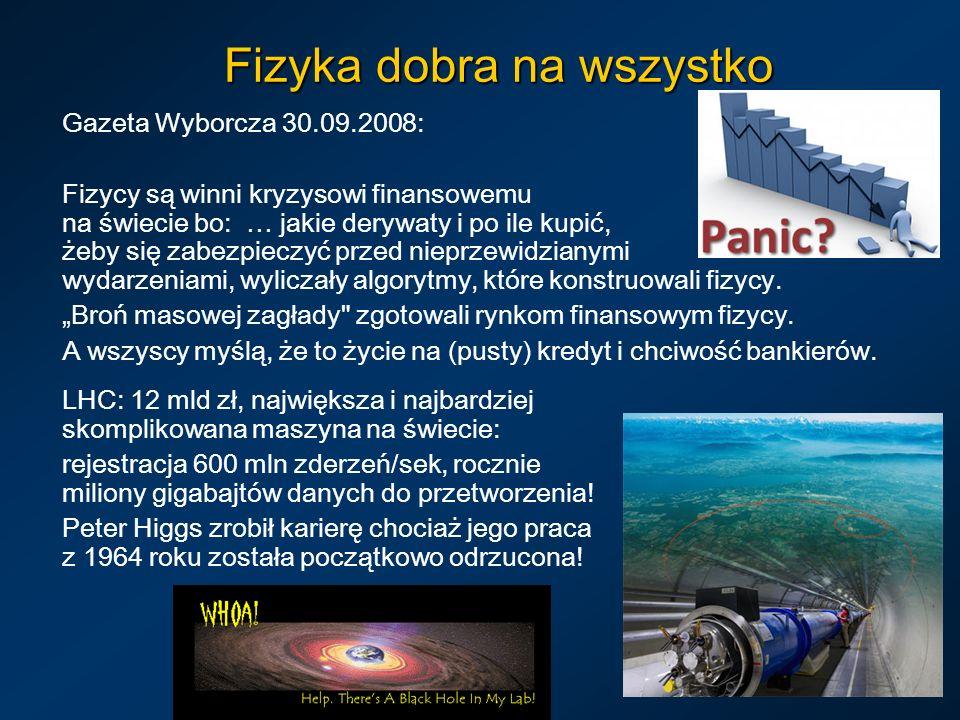 Fizyka dobra na wszystko Gazeta Wyborcza 30.09.2008: Fizycy są winni kryzysowi finansowemu na świecie bo: … jakie derywaty i po ile kupić, żeby się za