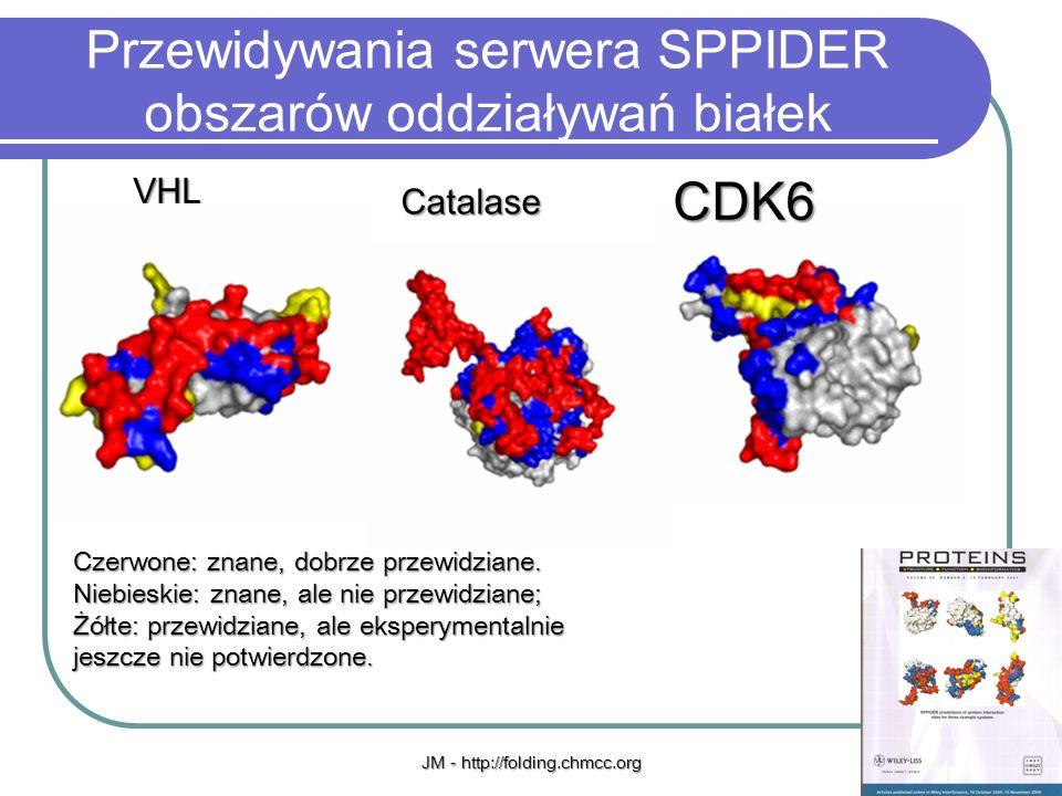 JM - http://folding.chmcc.org8 Przewidywania serwera SPPIDER obszarów oddziaływań białek VHL Catalase CDK6 Czerwone: znane, dobrze przewidziane. Niebi