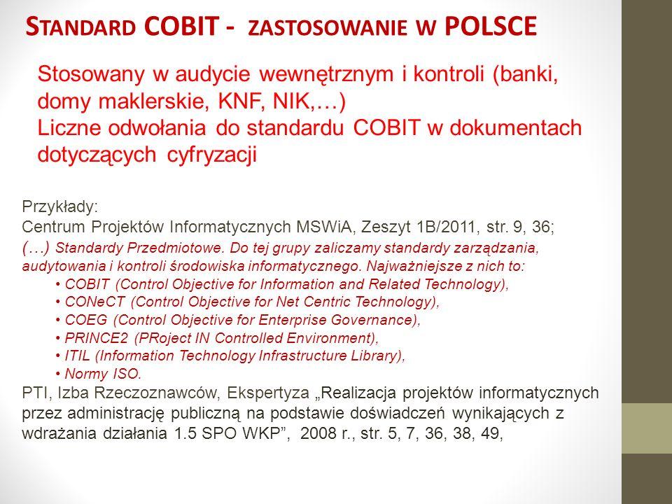 COBIT 5 Z ARZĄDZANIE CIĄGŁOŚCIĄ DSS04 Zarządzanie Ciągłością – kluczowe działania zarządcze DSS04.01 - Definiowanie polityki, celów i zakresu ciągłości biznesowej DSS04.02 Utrzymywanie strategii ciągłości DSS04.03 Opracowanie i wdrożenie reakcji ciągłości biznesowej DSS04.04 Ćwiczenia, testy i przegląd BCP DSS04.05 Przegląd, utrzymanie i doskonalenie planów ciągłości DSS04.06 Szkolenie z planów ciągłości DSS04.07 Wypełnianie założeń dotyczących kopii zapasowych DSS04.08 Przeprowadzanie przeglądu po odzyskiwaniu sprawności