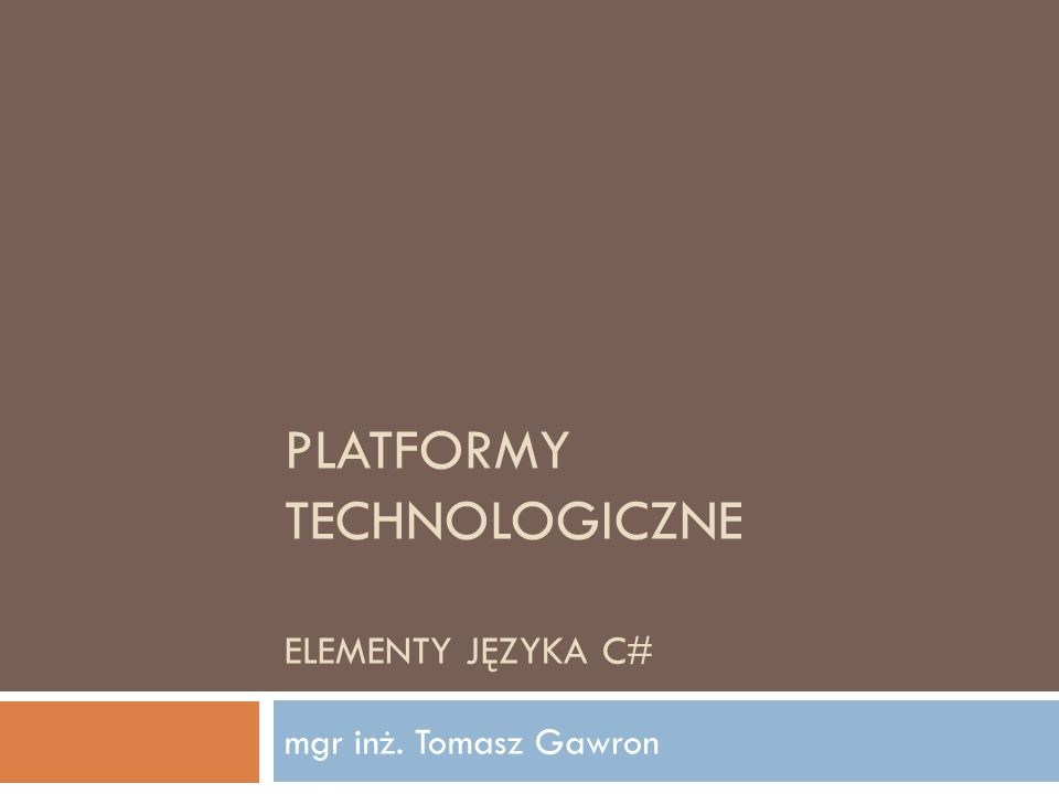 Automatyczne właściwości Platformy Technologiczne 2012 42 Wprowadzone w C# 3.0 Uproszczenie kodowania //C# 2.0 private int age; public int Age { get { return age; } set { age = value; } } //C# 3.0 public int MyAge { get; set; }
