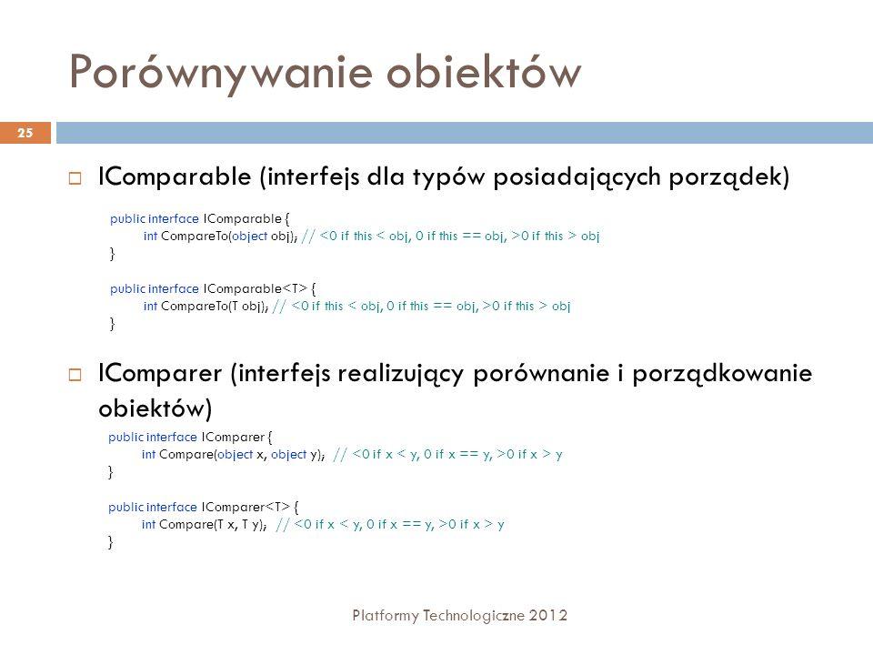 Porównywanie obiektów Platformy Technologiczne 2012 25 IComparable (interfejs dla typów posiadających porządek) IComparer (interfejs realizujący porów