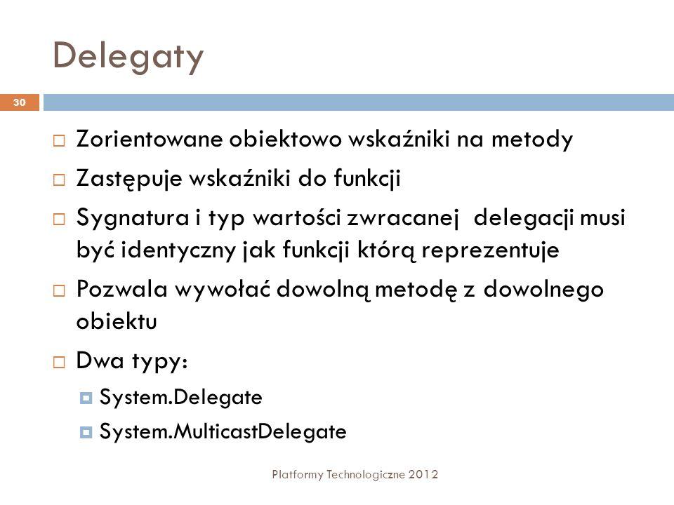 Delegaty Platformy Technologiczne 2012 30 Zorientowane obiektowo wskaźniki na metody Zastępuje wskaźniki do funkcji Sygnatura i typ wartości zwracanej