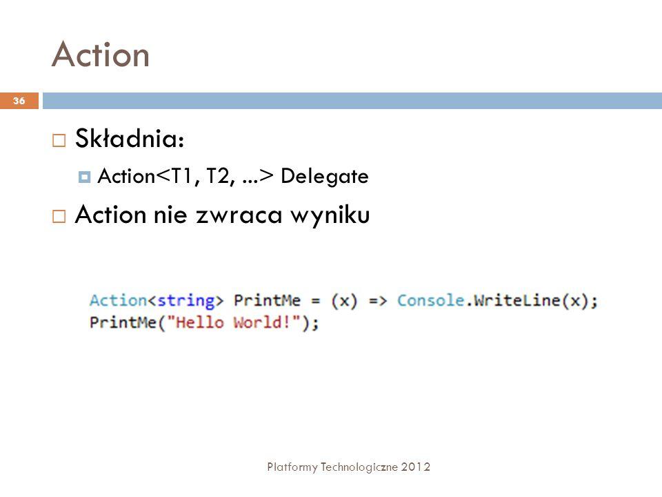 Action Platformy Technologiczne 2012 36 Składnia: Action Delegate Action nie zwraca wyniku