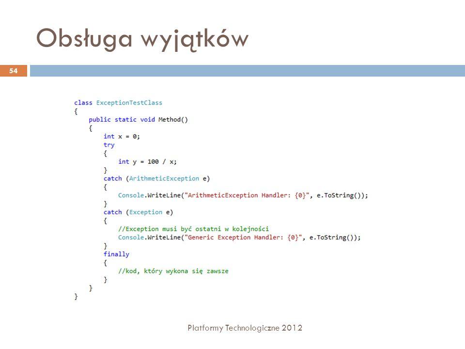 Obsługa wyjątków Platformy Technologiczne 2012 54