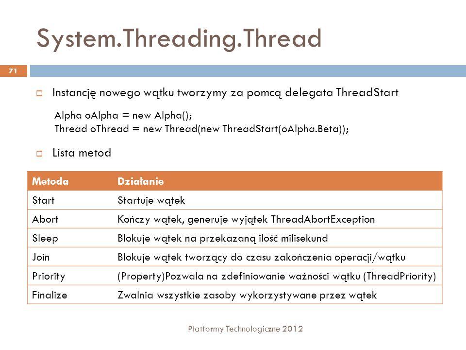 System.Threading.Thread Platformy Technologiczne 2012 71 Instancję nowego wątku tworzymy za pomcą delegata ThreadStart Lista metod MetodaDziałanie Sta