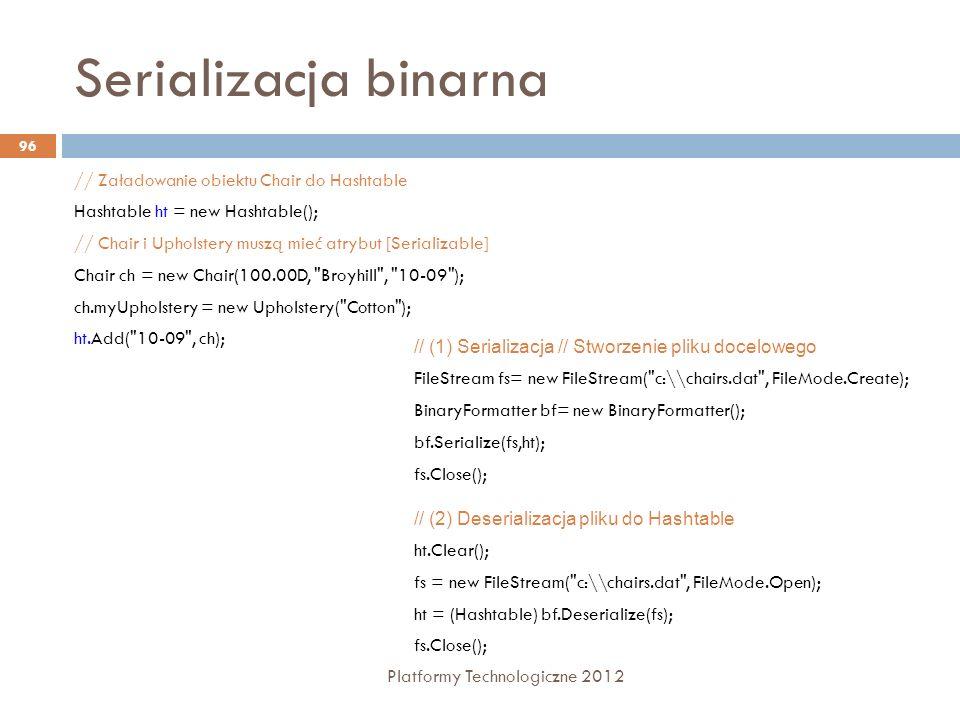 Serializacja binarna Platformy Technologiczne 2012 96 // Załadowanie obiektu Chair do Hashtable Hashtable ht = new Hashtable(); // Chair i Upholstery