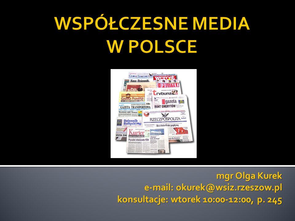 Rynek prasowy w Polsce (pojęcia, systematyka i rodzaje prasy).
