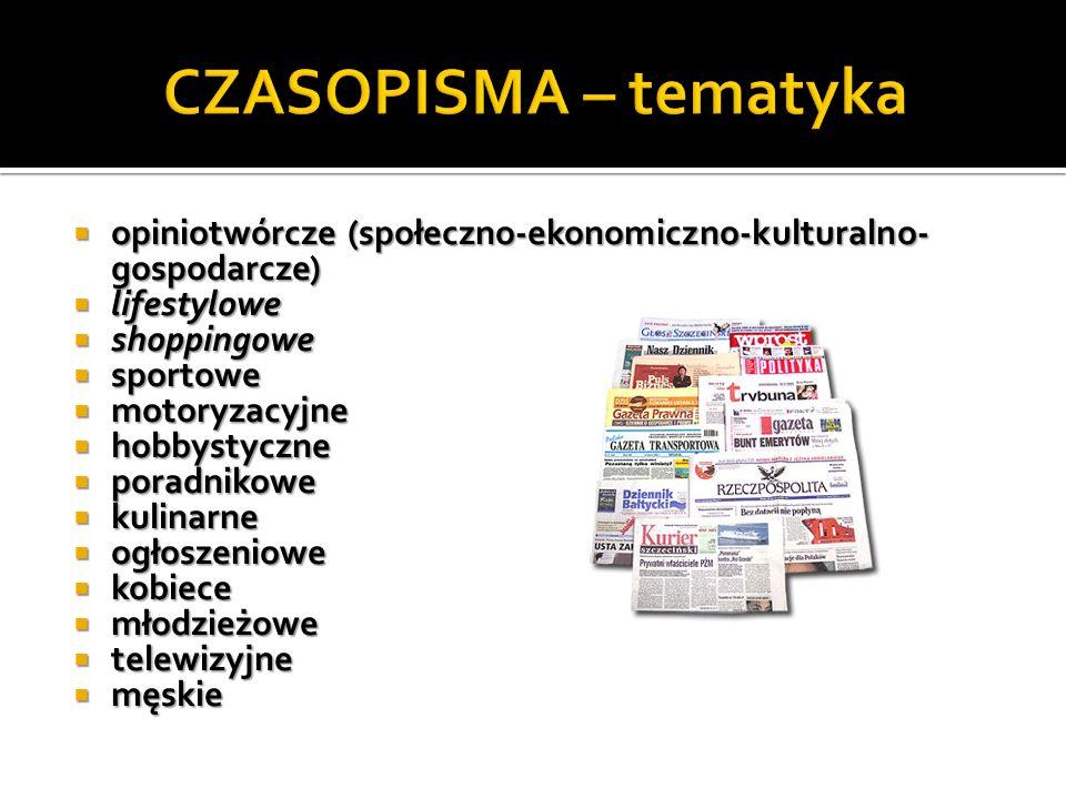 opiniotwórcze (społeczno-ekonomiczno-kulturalno- gospodarcze) opiniotwórcze (społeczno-ekonomiczno-kulturalno- gospodarcze) lifestylowe lifestylowe sh