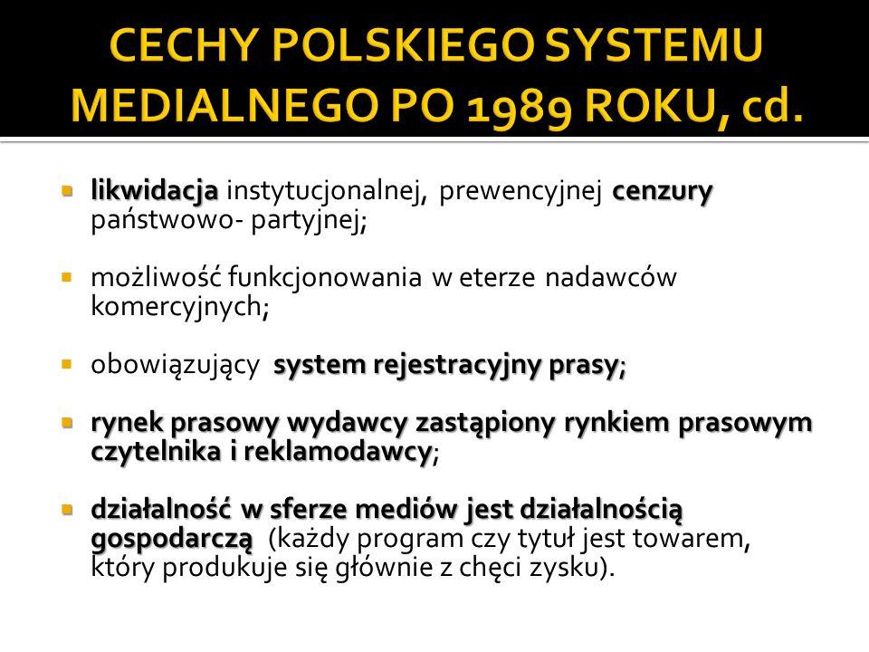 KRRiTv może przyznać miano nadawcy społecznego KRRiTv może przyznać miano nadawcy społecznego instytucji emitującej na terytorium Polski program radiowy lub telewizyjny, spełniającej następujące warunki: upowszechnia działalność wychowawczą i edukacyjną działalność charytatywną upowszechnia działalność wychowawczą i edukacyjną, a także działalność charytatywną; respektuje chrześcijański system wartości respektuje chrześcijański system wartości; ugruntowania tożsamości narodowej zmierza do ugruntowania tożsamości narodowej; nie emituje reklam, telesprzedaży, sponsorowanych audycji lub innych sponsorowanych przekazów nie emituje reklam, telesprzedaży, sponsorowanych audycji lub innych sponsorowanych przekazów; nie pobiera opłat nie pobiera opłat z tytułu rozpowszechniania, rozprowadzania lub odbierania swojego programu.