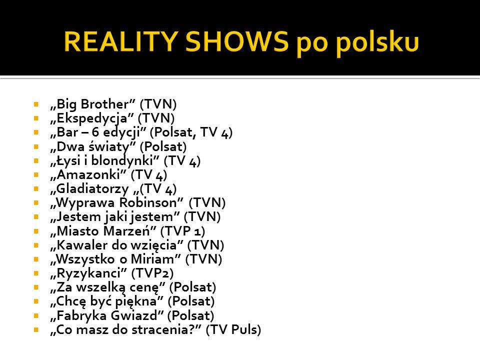 Big Brother (TVN) Ekspedycja (TVN) Bar – 6 edycji (Polsat, TV 4) Dwa światy (Polsat) Łysi i blondynki (TV 4) Amazonki (TV 4) Gladiatorzy (TV 4) Wypraw