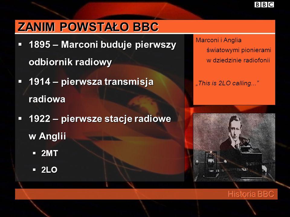 ZANIM POWSTAŁO BBC 1895 – Marconi buduje pierwszy odbiornik radiowy 1914 – pierwsza transmisja radiowa 1922 – pierwsze stacje radiowe w Anglii 2MT 2LO Marconi i Anglia światowymi pionierami w dziedzinie radiofonii This is 2LO calling...