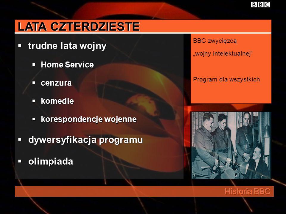 LATA CZTERDZIESTE trudne lata wojny Home Service cenzura komedie korespondencje wojenne dywersyfikacja programu olimpiada BBC zwycięzcą wojny intelektualnej Program dla wszystkich