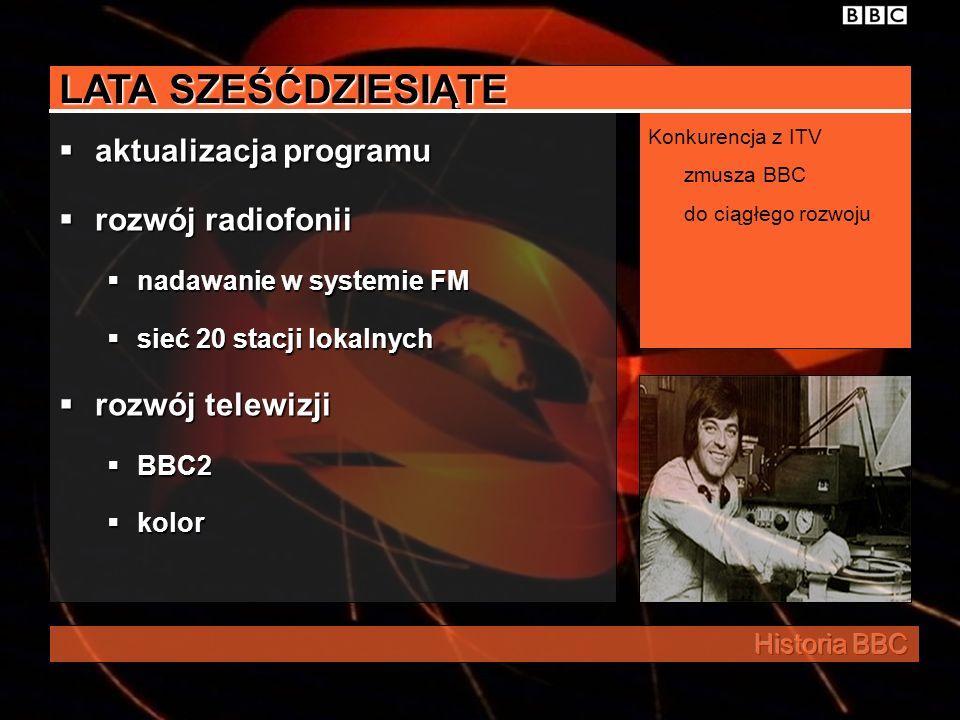 LATA SZEŚĆDZIESIĄTE aktualizacja programu rozwój radiofonii nadawanie w systemie FM sieć 20 stacji lokalnych rozwój telewizji BBC2 kolor Konkurencja z ITV zmusza BBC do ciągłego rozwoju
