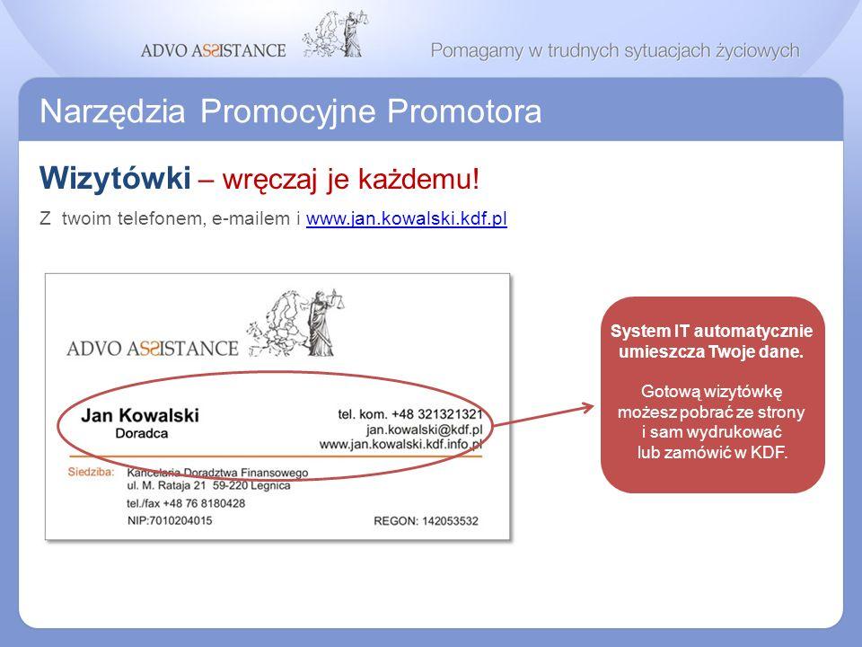Narzędzia Promocyjne Promotora Wizytówki – wręczaj je każdemu! System IT automatycznie umieszcza Twoje dane. Gotową wizytówkę możesz pobrać ze strony