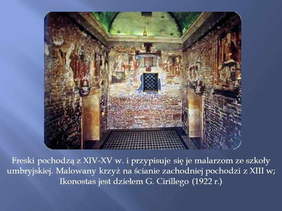 Freski pochodzą z XIV-XV w.i przypisuje się je malarzom ze szkoły umbryjskiej.