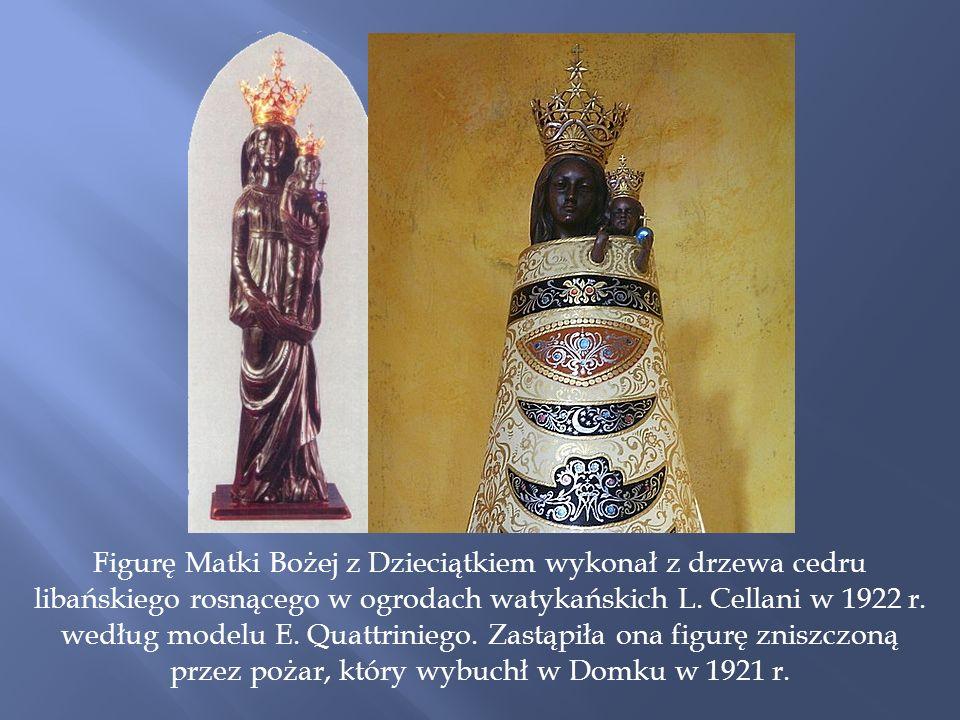 Figurę Matki Bożej z Dzieciątkiem wykonał z drzewa cedru libańskiego rosnącego w ogrodach watykańskich L.