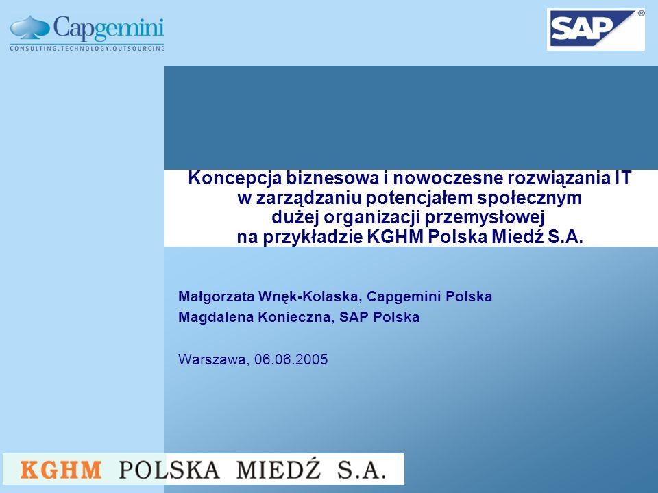 Małgorzata Wnęk-Kolaska, Capgemini Polska Magdalena Konieczna, SAP Polska Warszawa, 06.06.2005 Koncepcja biznesowa i nowoczesne rozwiązania IT w zarządzaniu potencjałem społecznym dużej organizacji przemysłowej na przykładzie KGHM Polska Miedź S.A.