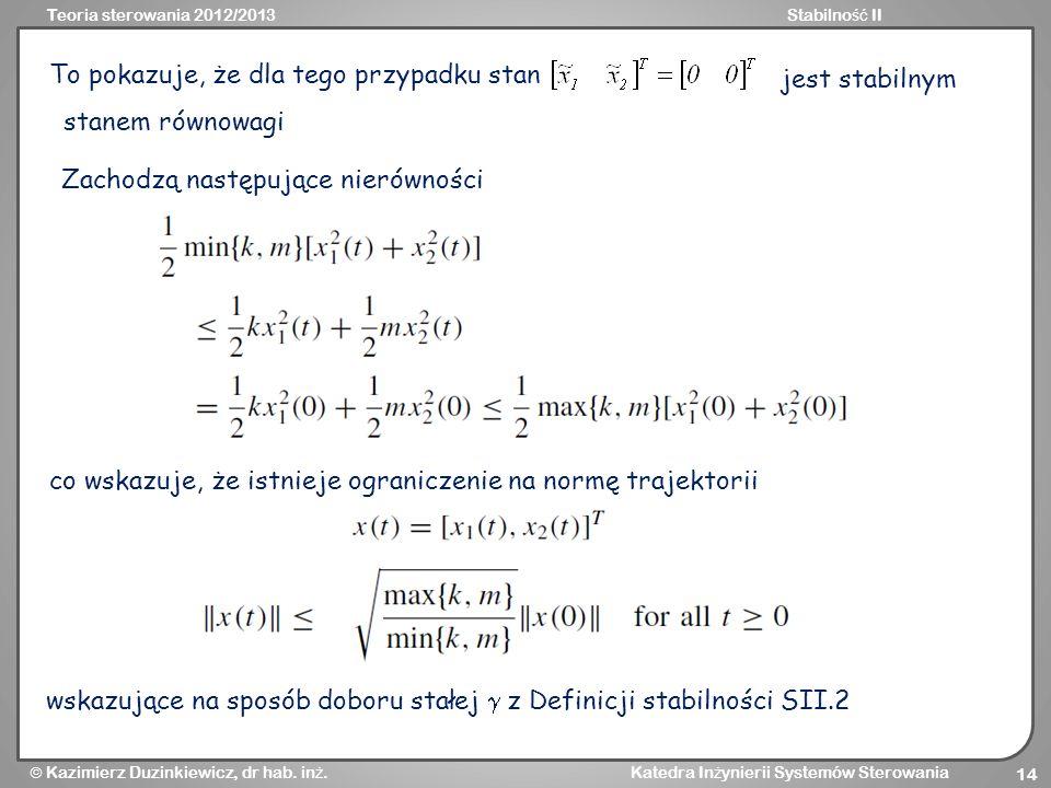 Teoria sterowania 2012/2013Stabilno ść II Kazimierz Duzinkiewicz, dr hab. in ż. Katedra In ż ynierii Systemów Sterowania 14 To pokazuje, że dla tego p