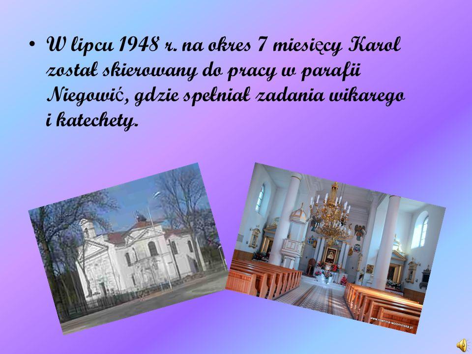 15 listopada Karol wraz z klerykiem Stanisławem Starowiejskim poprzez Pary ż wyjechał do Rzymu, aby kontynuowa ć studia na Papieskim Mi ę dzynarodowym