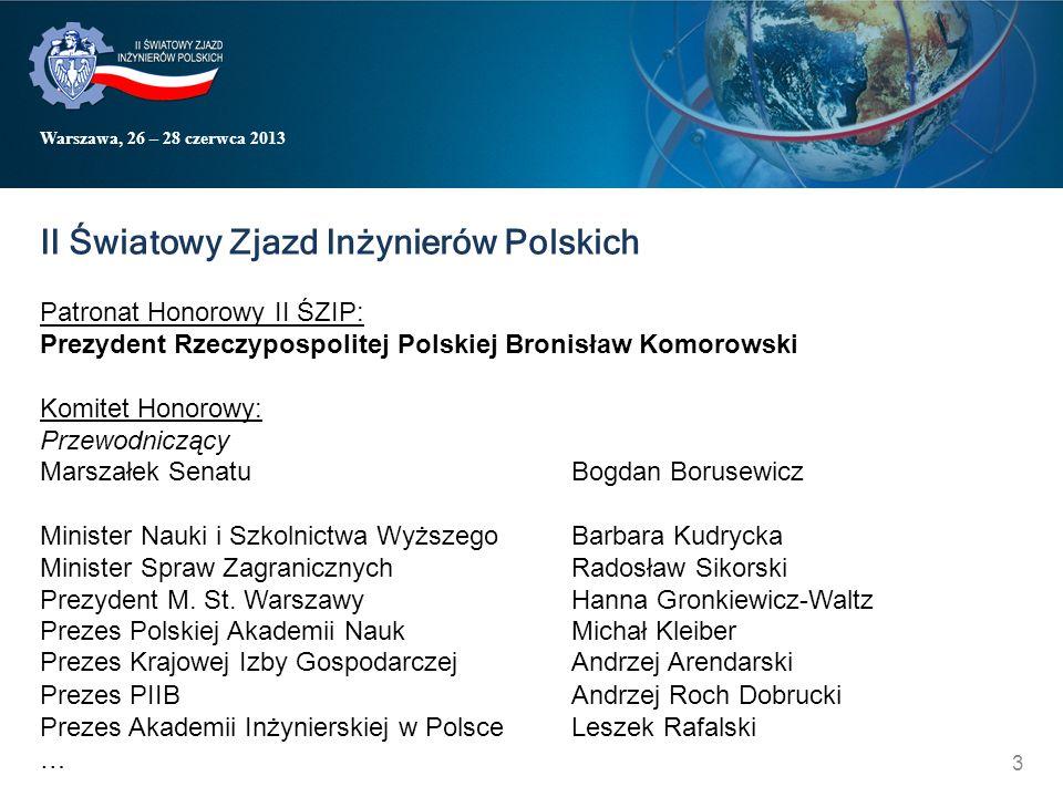 Warszawa, 26 – 28 czerwca 2013 II Światowy Zjazd Inżynierów Polskich Patronat Honorowy II ŚZIP: Prezydent Rzeczypospolitej Polskiej Bronisław Komorows