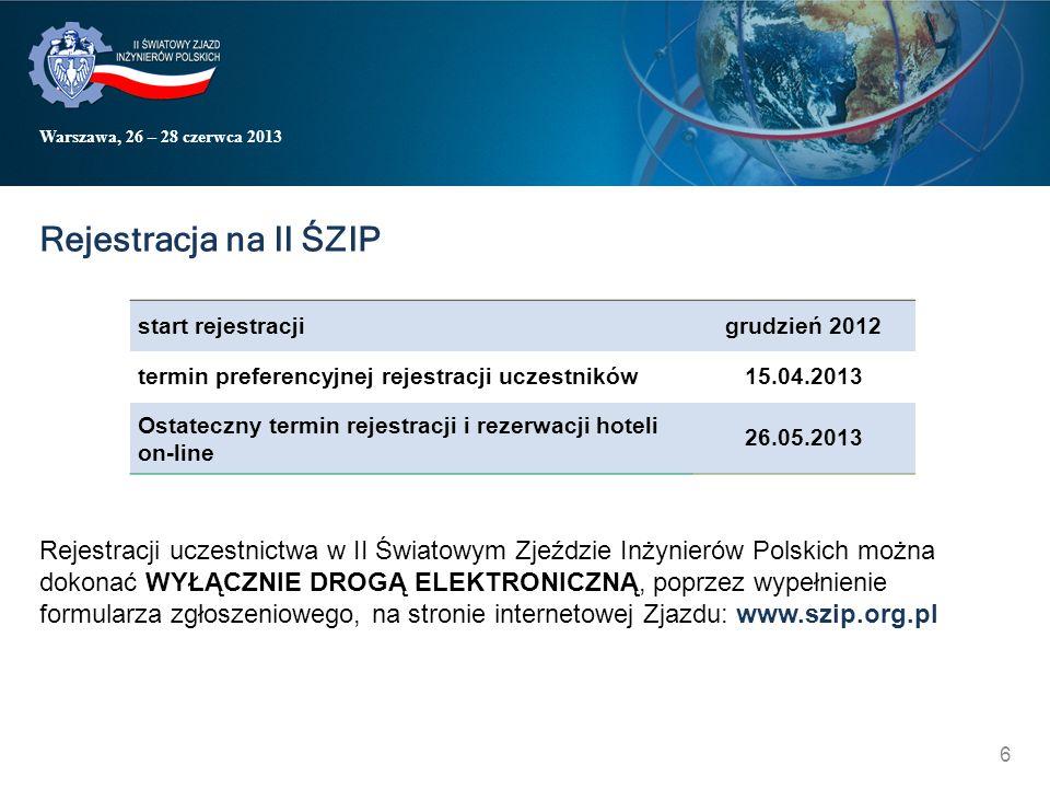 Warszawa, 26 – 28 czerwca 2013 Rejestracja na II ŚZIP start rejestracji grudzień 2012 termin preferencyjnej rejestracji uczestników15.04.2013 Ostatecz