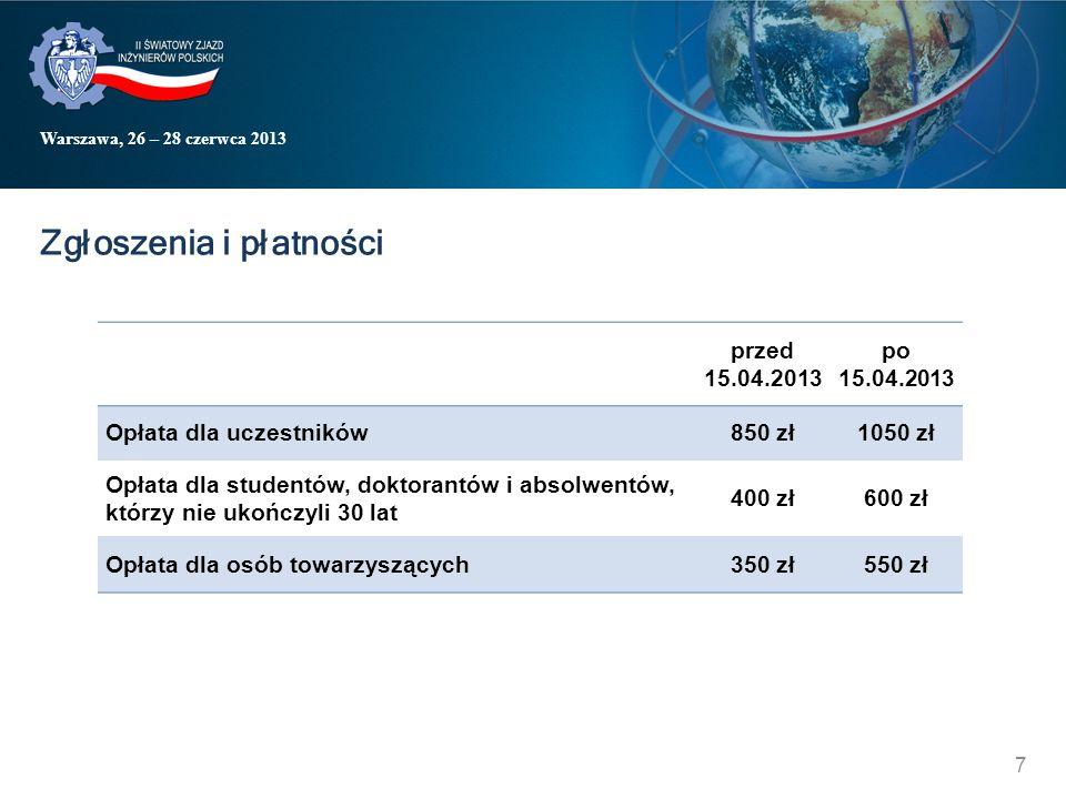 Warszawa, 26 – 28 czerwca 2013 Zgłoszenia i płatności przed 15.04.2013 po 15.04.2013 Opłata dla uczestników850 zł1050 zł Opłata dla studentów, doktorantów i absolwentów, którzy nie ukończyli 30 lat 400 zł600 zł Opłata dla osób towarzyszących350 zł550 zł 7