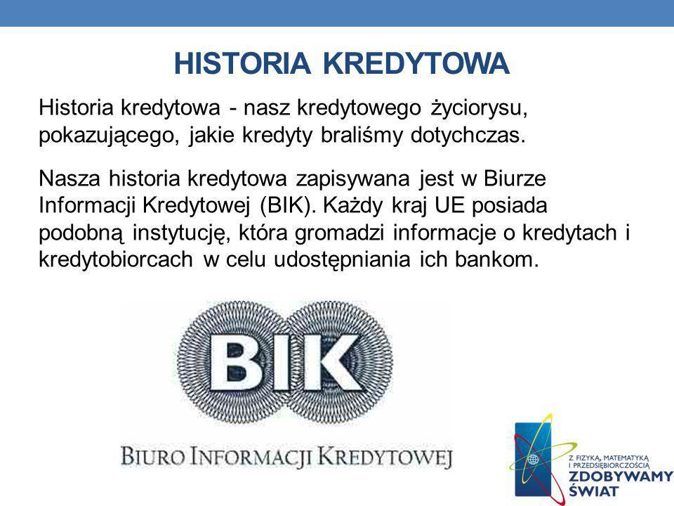 HISTORIA KREDYTOWA Historia kredytowa - nasz kredytowego życiorysu, pokazującego, jakie kredyty braliśmy dotychczas. Nasza historia kredytowa zapisywa