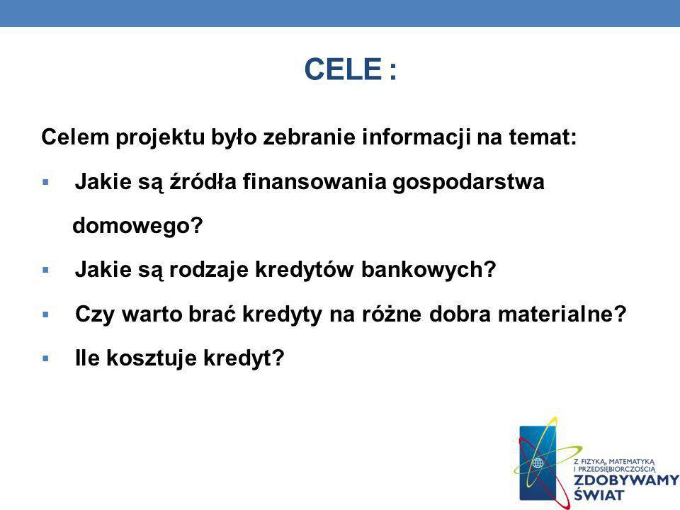 CELE : Celem projektu było zebranie informacji na temat: Jakie są źródła finansowania gospodarstwa domowego? Jakie są rodzaje kredytów bankowych? Czy
