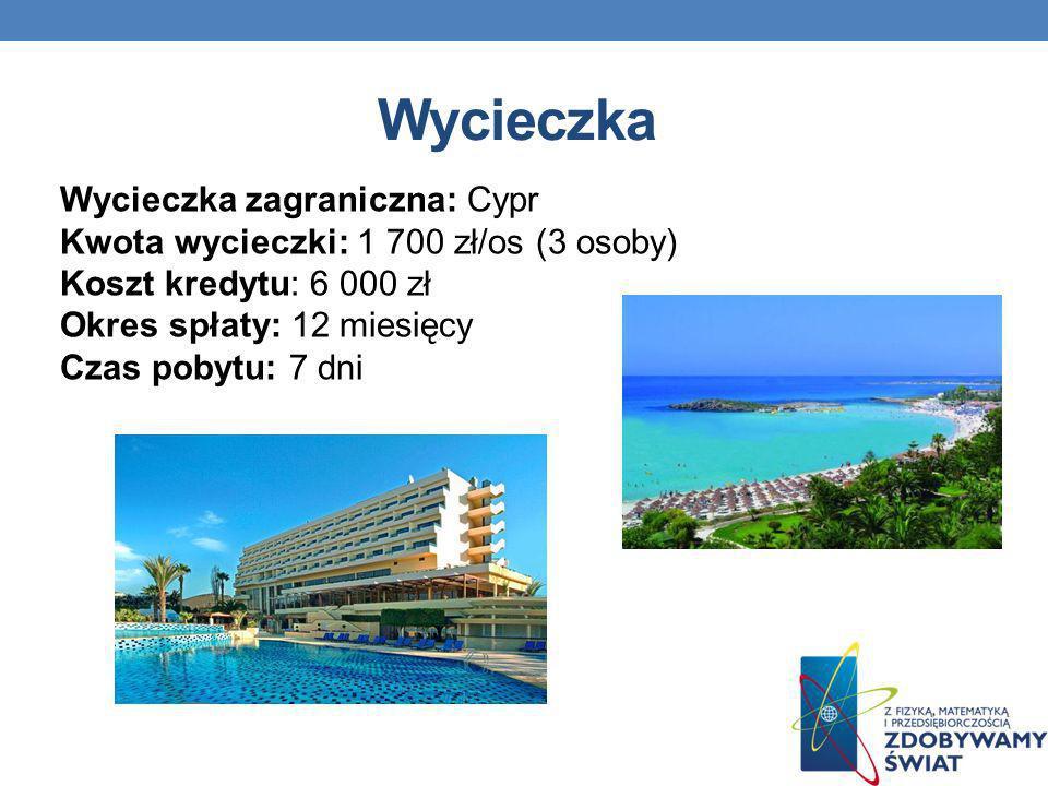 Wycieczka Wycieczka zagraniczna: Cypr Kwota wycieczki: 1 700 zł/os (3 osoby) Koszt kredytu: 6 000 zł Okres spłaty: 12 miesięcy Czas pobytu: 7 dni