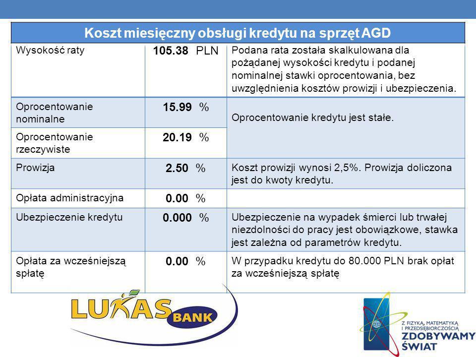 Wysokość raty 105.38 PLN Podana rata została skalkulowana dla pożądanej wysokości kredytu i podanej nominalnej stawki oprocentowania, bez uwzględnieni