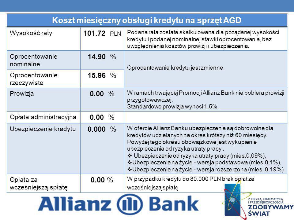 Wysokość raty 101.72 PLN Podana rata została skalkulowana dla pożądanej wysokości kredytu i podanej nominalnej stawki oprocentowania, bez uwzględnieni