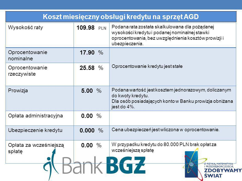 Wysokość raty 109.98 PLN Podana rata została skalkulowana dla pożądanej wysokości kredytu i podanej nominalnej stawki oprocentowania, bez uwzględnieni