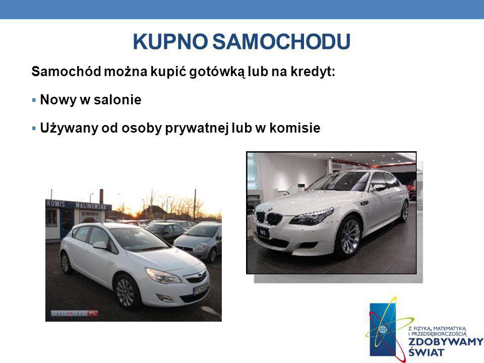 KUPNO SAMOCHODU Samochód można kupić gotówką lub na kredyt: Nowy w salonie Używany od osoby prywatnej lub w komisie