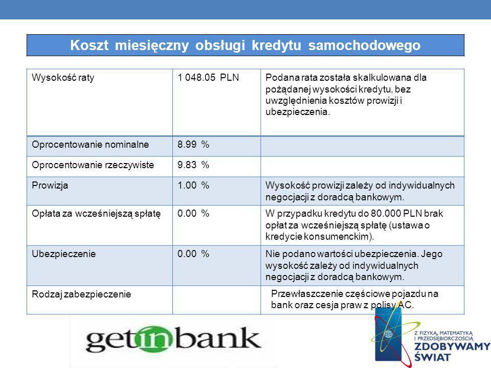 Wysokość raty1 048.05 PLNPodana rata została skalkulowana dla pożądanej wysokości kredytu, bez uwzględnienia kosztów prowizji i ubezpieczenia. Oprocen