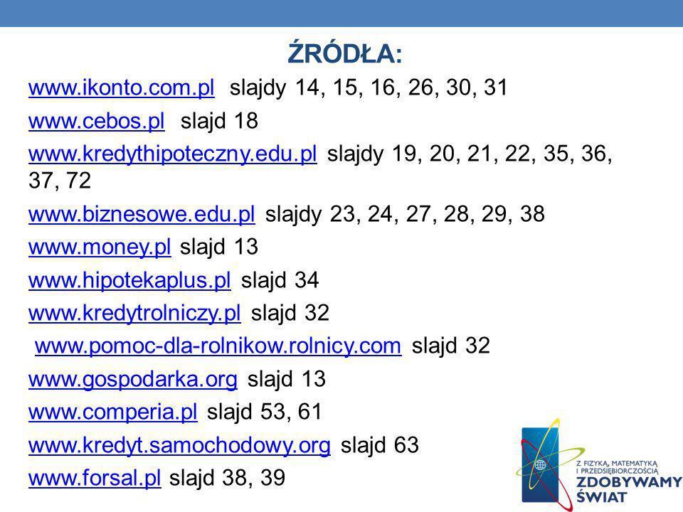 ŹRÓDŁA: www.ikonto.com.plwww.ikonto.com.pl slajdy 14, 15, 16, 26, 30, 31 www.cebos.plwww.cebos.pl slajd 18 www.kredythipoteczny.edu.plwww.kredythipote