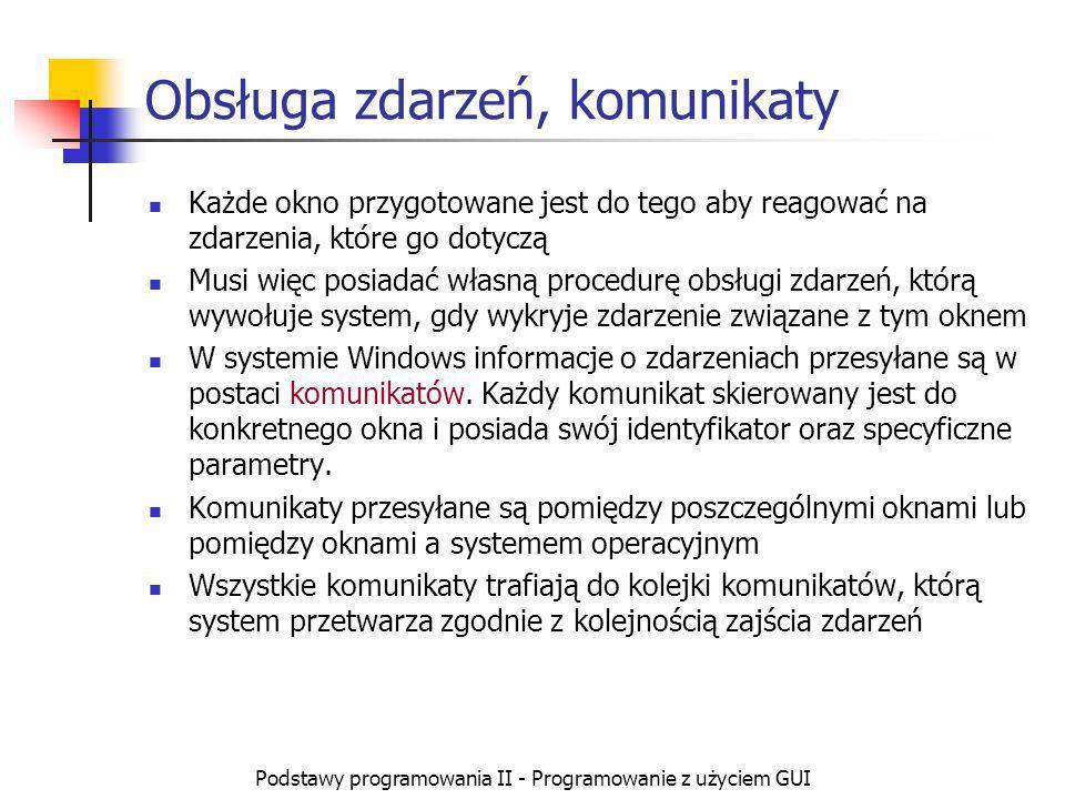 Podstawy programowania II - Programowanie z użyciem GUI Obsługa zdarzeń, komunikaty Każde okno przygotowane jest do tego aby reagować na zdarzenia, kt