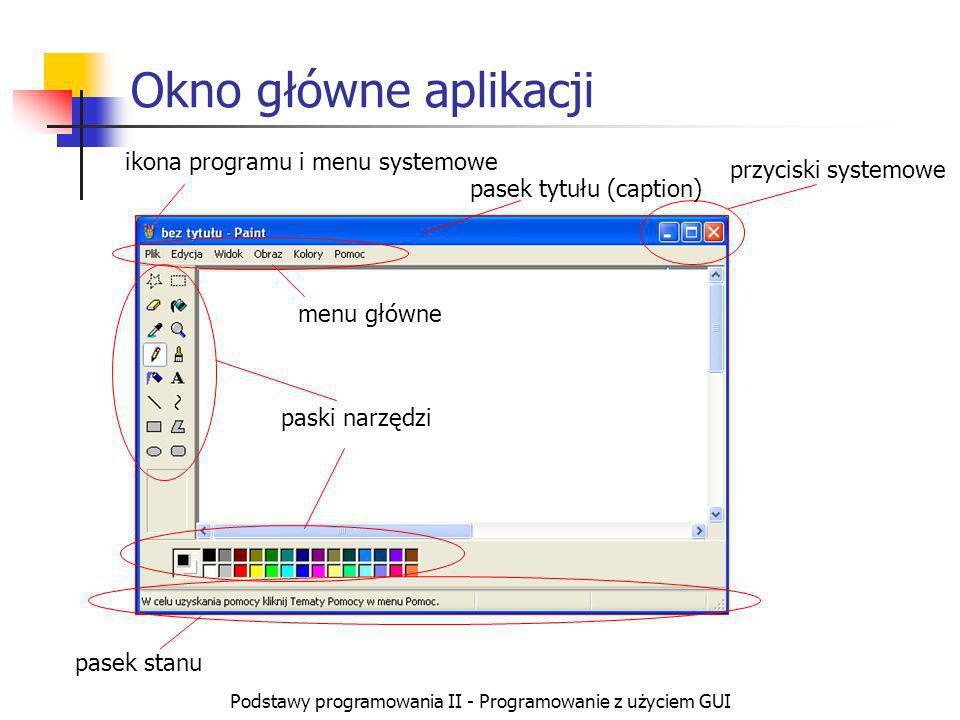 Podstawy programowania II - Programowanie z użyciem GUI Programowanie w Windows API Wykorzystywanie wyłącznie mechanizmów oferowanych przez system operacyjny Proces tworzenia kodu jest żmudny i długotrwały ze względu na konieczność pracy na niskim poziomie abstrakcji Wymaga szczegółowej znajomości mechanizmów systemu Kod źródłowy można skompilować na dowolnym kompilatorze pracującym pod MS Windows.