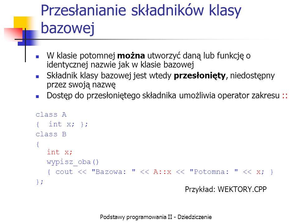 Podstawy programowania II - Dziedziczenie Przesłanianie składników klasy bazowej W klasie potomnej można utworzyć daną lub funkcję o identycznej nazwi