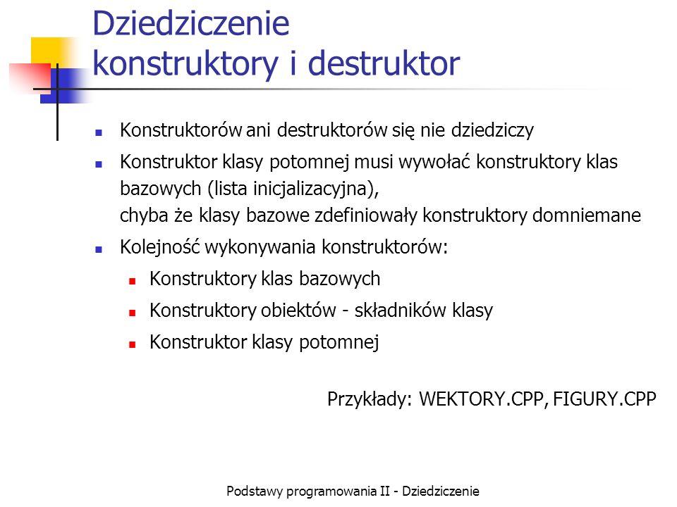 Podstawy programowania II - Dziedziczenie Dziedziczenie konstruktory i destruktor Konstruktorów ani destruktorów się nie dziedziczy Konstruktor klasy