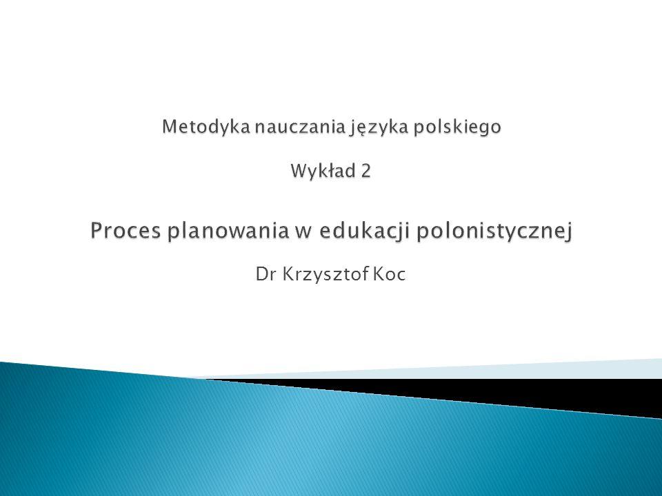 Etapy tworzenia planu dydaktycznego 1.