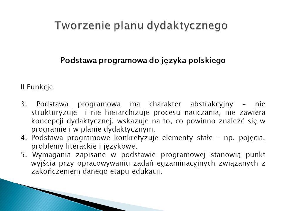 Podstawa programowa do języka polskiego II Funkcje 3. Podstawa programowa ma charakter abstrakcyjny – nie strukturyzuje i nie hierarchizuje procesu na