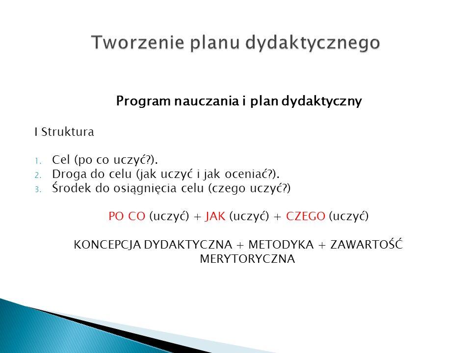 Program nauczania i plan dydaktyczny I Struktura 1. Cel (po co uczyć?). 2. Droga do celu (jak uczyć i jak oceniać?). 3. Środek do osiągnięcia celu (cz