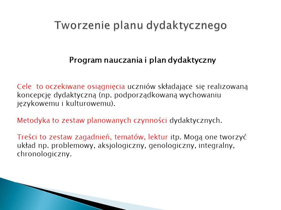 Program nauczania i plan dydaktyczny Cele to oczekiwane osiągnięcia uczniów składające się realizowaną koncepcję dydaktyczną (np. podporządkowaną wych