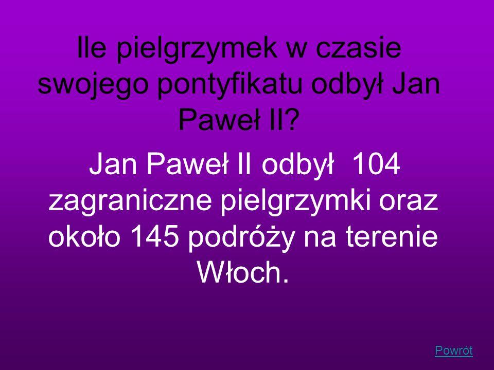 Powrót Ile pielgrzymek w czasie swojego pontyfikatu odbył Jan Paweł II? Jan Paweł II odbył 104 zagraniczne pielgrzymki oraz około 145 podróży na teren