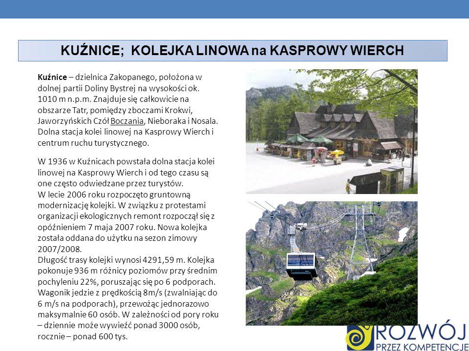 KUŹNICE; KOLEJKA LINOWA na KASPROWY WIERCH Kuźnice – dzielnica Zakopanego, położona w dolnej partii Doliny Bystrej na wysokości ok. 1010 m n.p.m. Znaj