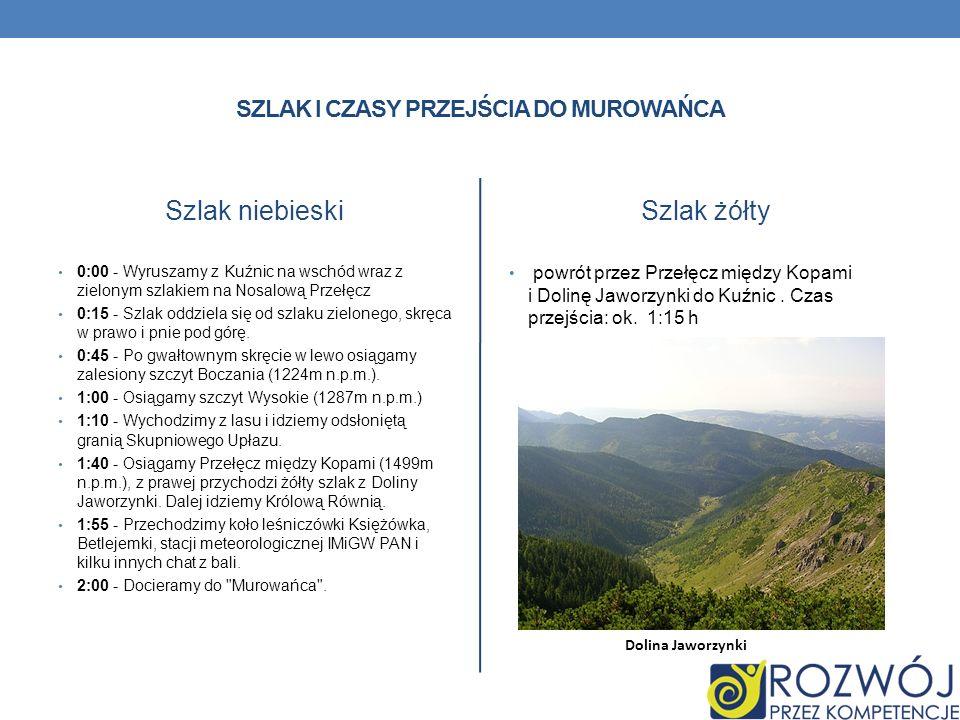 SZLAK I CZASY PRZEJŚCIA DO MUROWAŃCA Szlak niebieski 0:00 - Wyruszamy z Kuźnic na wschód wraz z zielonym szlakiem na Nosalową Przełęcz 0:15 - Szlak od