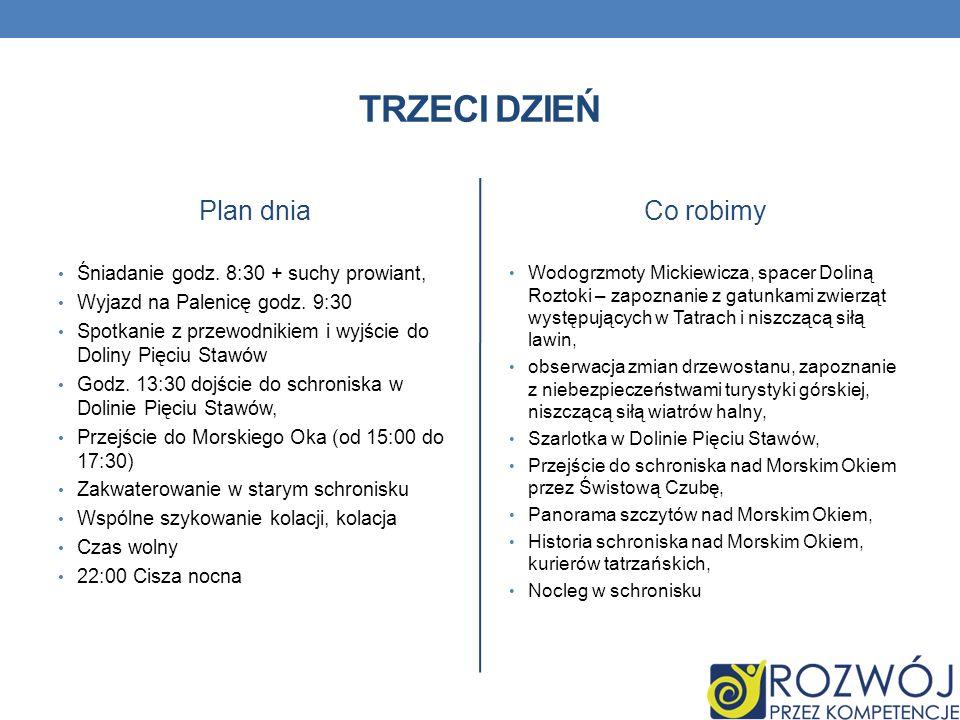 TRZECI DZIEŃ Plan dnia Śniadanie godz. 8:30 + suchy prowiant, Wyjazd na Palenicę godz. 9:30 Spotkanie z przewodnikiem i wyjście do Doliny Pięciu Stawó